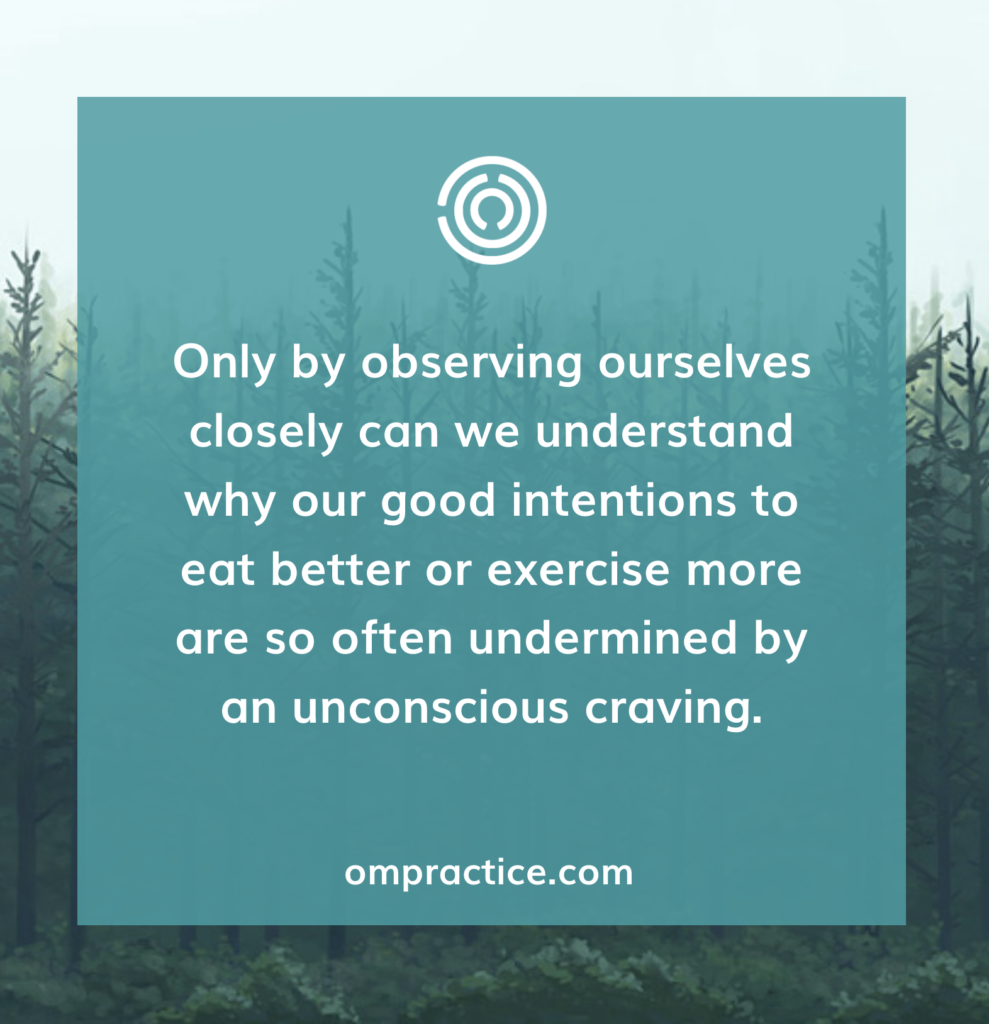 Ompractice: only by observing ourselves closely that we can understand why our good intentions to eat better or exercise more are so often undermined by an unconscious craving.