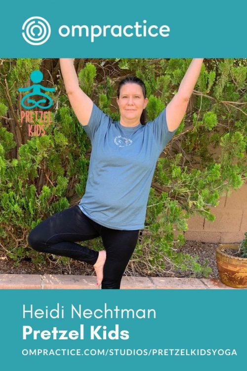 Ompractice teacher Heidi Nechtman doing tree pose